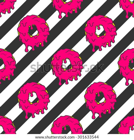 Colorful donuts pattern on a striped background in pop art style  - stock vector