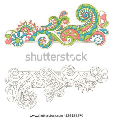Colorful doodle frame with outline version - stock vector