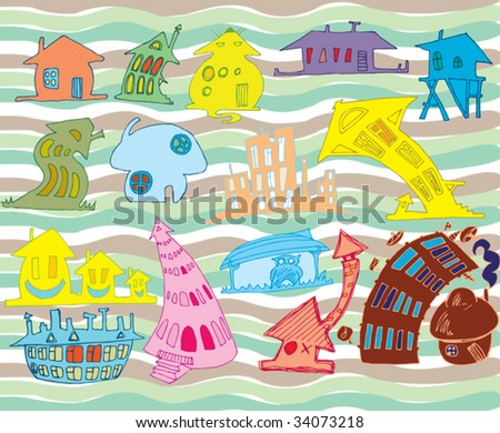 colorful doodle houses - stock vector