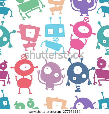Colorful doodle robots. Seamless vector pattern. - stock vector