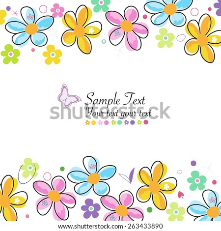Colorful doodle spring flowers frame greeting card  - stock vector