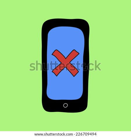Colorful doodle style smartphone with red cross as error or removal sign - stock vector
