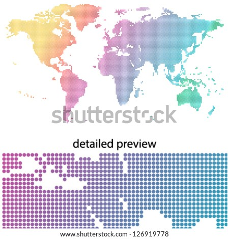 colorful & dotted world map - stock vector