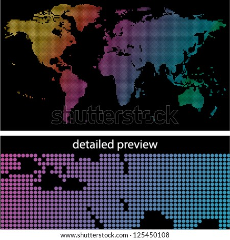 colorful dotted world map on black background - stock vector