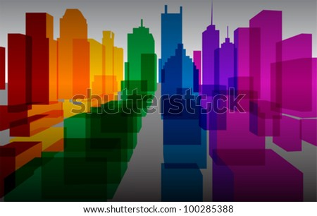 Colorful downtown background, vector - stock vector