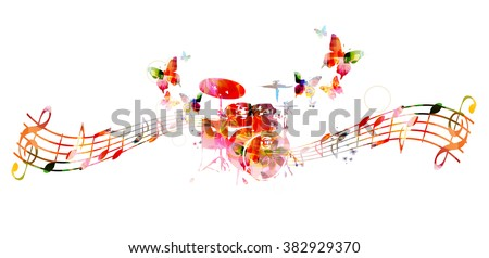 Colorful drums design. Music background - stock vector