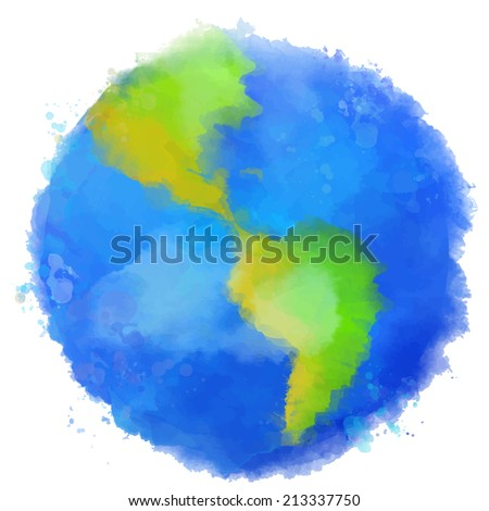 Colorful Earth illustration. Watercolor style with swashes, spots and splashes. Vector image. - stock vector