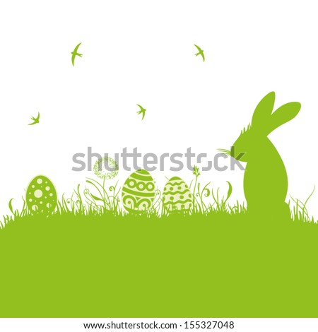 Colorful easter background, with easter bunny. - stock vector