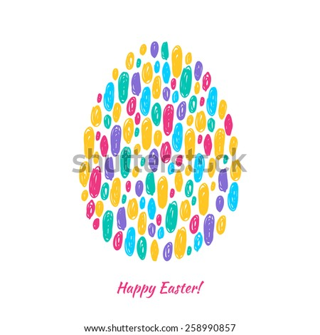 Colorful easter egg scribble background. Good for greeting card design. Bright hand drawn illustration.