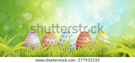 Colorful Easter eggs , blur background
