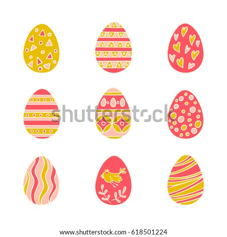 Colorful Easter eggs hand drawn icon set in doodle style on white background. Perfect vector design elements for decorations greeting card, holidays pattern, wrapping paper