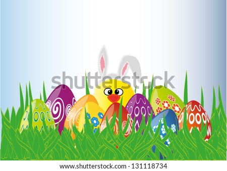 Colorful Easter eggs in the grass and chick with bunny ears, vector illustration - stock vector