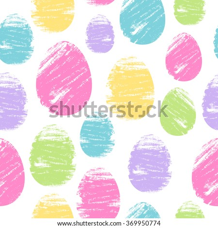 Colorful easter eggs seamless background. Brush strokes design vector illustration pattern. Holiday greeting card poster brochure cover texture.