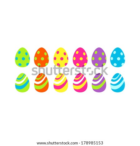 Colorful Easter eggs texture patterns set