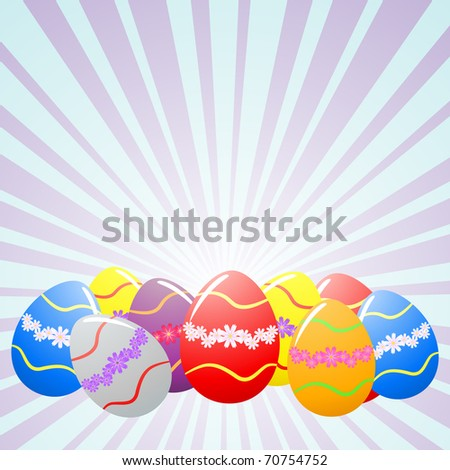 Colorful Easter eggs under rays - stock vector