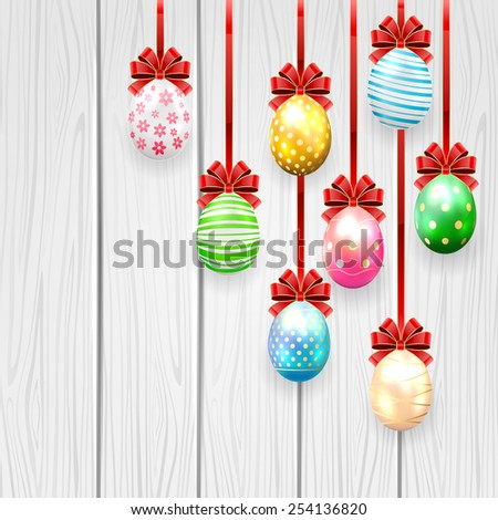 Colorful Easter eggs with red bow on wooden background, illustration. - stock vector
