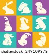 colorful easter rabbit collection - stock