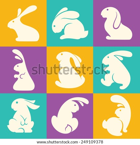 colorful easter rabbit collection - stock vector