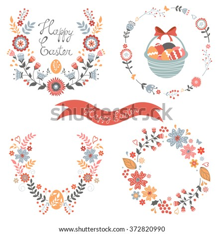 Colorful Easter related elements collection - stock vector