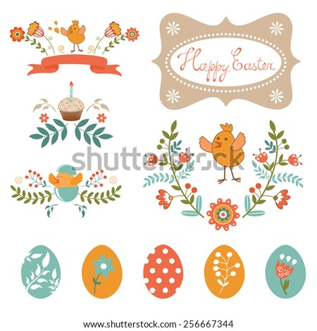 Colorful Easter related elements collection. Vector illustration