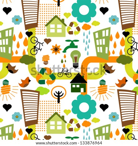 Colorful eco pattern - stock vector