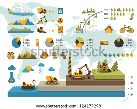colorful ecology elements,vector info graphics - stock vector