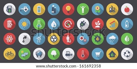 colorful ecology flat icons set - stock vector