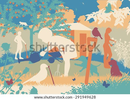 Colorful editable vector cutout illustration of a family gardening with puppies and wildlife - stock vector
