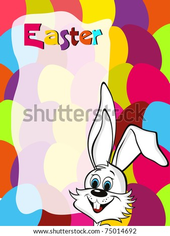 colorful egg pattern background with cute bunny face