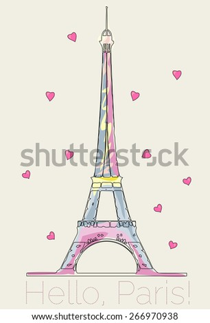 Colorful Eiffel tower with hearts vector hand drawn illustration - stock vector