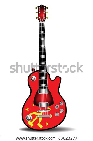 Colorful electric guitar made in soviet style