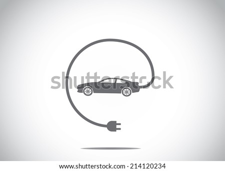 colorful electric hybrid car with charger plug connected concept icon symbol. dark colored car with cable charger plug from the car illustration art - stock vector