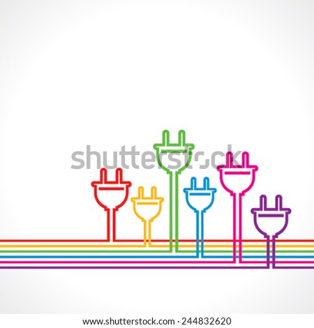 Colorful electric plug background stock vector  - stock vector