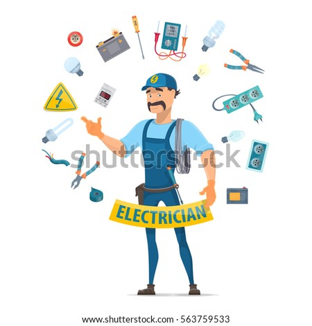 Colorful Electricity Elements Concept With Moustached Electrician And Professional Electrical Tools In Circle Shape Isolated Vector