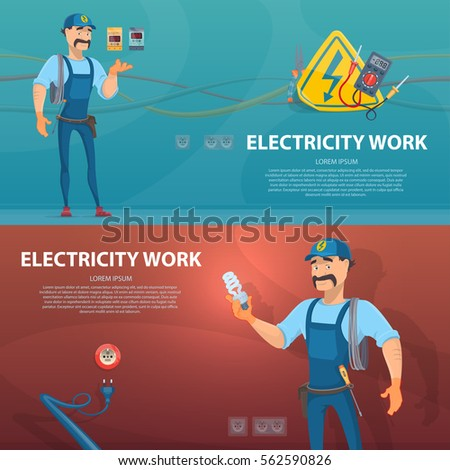 Colorful Electricity Work Horizontal Banners With Electrician And Different Electric Tools Vector Illustration