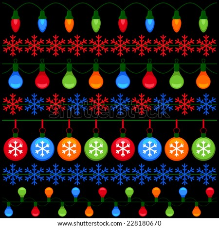 Colorful elements for Christmas and New Year - stock vector