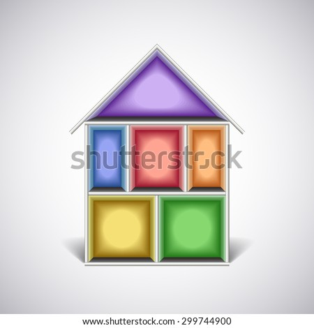 Colorful empty house rooms in cut photo realistic vector illustration - stock vector