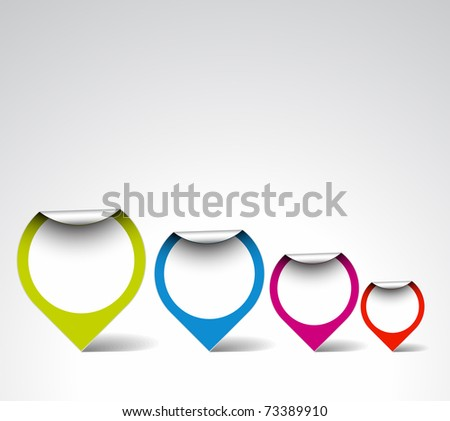 Colorful empty Round labels / pointers - stock vector