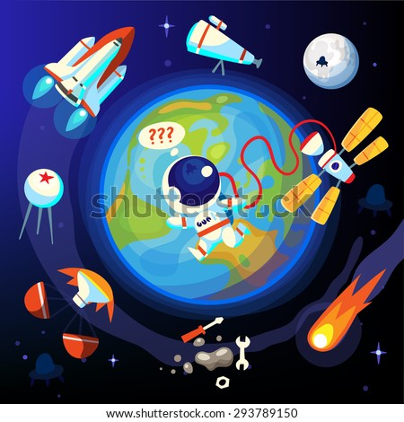 Colorful episodes of space life. Past and future scientific space discoveries and achievements. - stock vector
