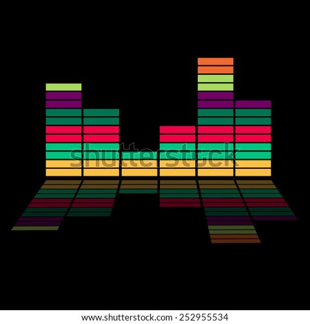 Colorful equalizer - music background - stock vector