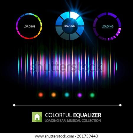 Colorful equalizer & Set of Preloaders for loading items. Vector illustration - stock vector