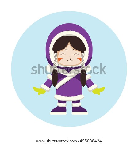 colorful eskimo outfit vector cartoon