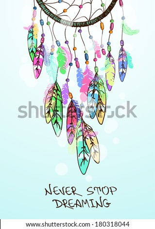 Colorful ethnic illustration with American Indians dreamcatcher - stock vector
