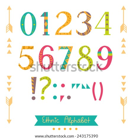 Colorful ethnic numbers, symbols and punctuation marks.  Hand drawn  isolated alphabet. Nice font for your design. Vector. - stock vector