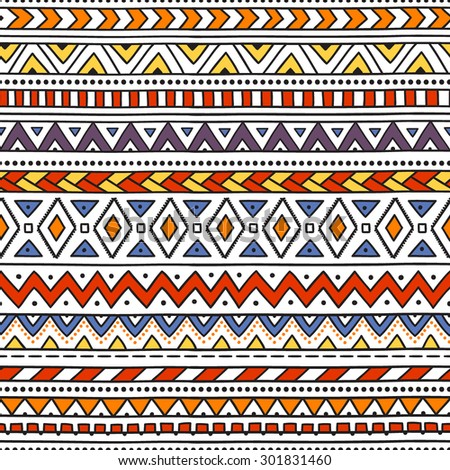 Colorful ethnic seamless pattern. Horizontal striped pattern. Handmade. Vector illustration. White background. Red, orange, blue, yellow, purple. - stock vector