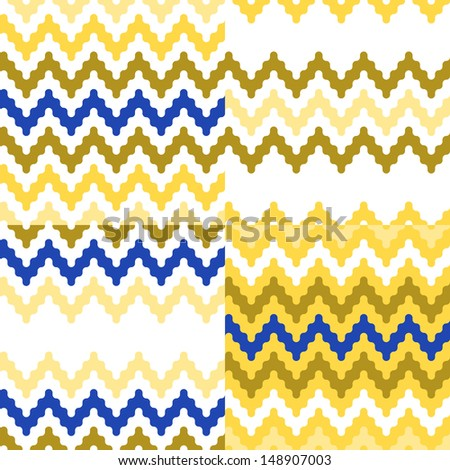 Colorful ethnic zigzag geometric seamless patterns set in blue, white and yellow, vector