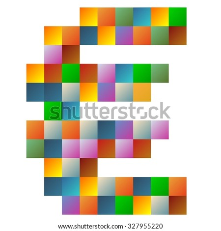 Colorful euro currency text in vector - stock vector