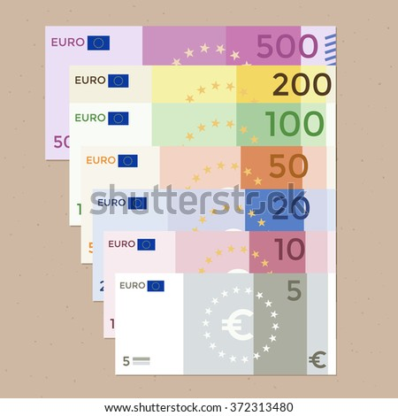 Colorful 500 euro, 200 euro, 100 euro, 50 euro, 20 euro, 10 euro, 5 euro banknotes on a wood background. Flat design vector illustration. - stock vector