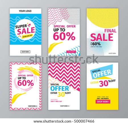 colorful eye catching social media ads stock vector royalty free