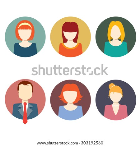 Colorful Faces Circle Icons Set - Flat Style - stock vector